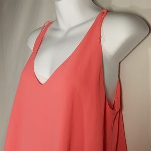 Kanvas Tops - Kanvas Asymetrical Sleeveless Peach Tank Top MED